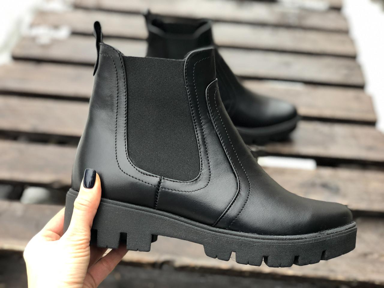 Ботинки челси из натуральной черной кожи №362-1 сандра