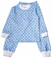 """Пижама """"Горошек"""" голубая, интерлок,104-134"""