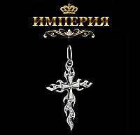 Крест мужской серебряный байкерский Огонь