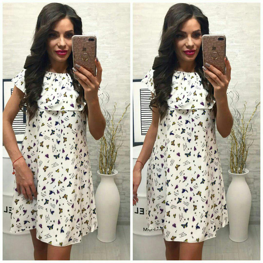Платье, модель 786, цвет - белый, принт - бабочки