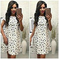 Платье, модель 786, цвет - белый, принт - бабочки, фото 1