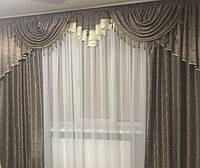 Готовый ламбрекен и шторы №325, шоколадный, фото 1