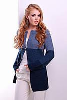 Женский вязаный кардиган с полосами синих оттенков