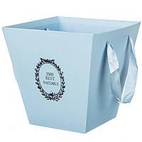 Коробка для цветов с лентами 0314J/blue