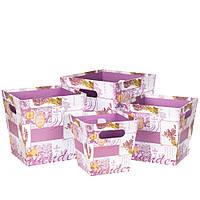 Комплект коробок для  оформления цветов и композиций 4 шт 0303J/pink