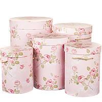 Комплект коробок для цветов Цилиндр 5 шт 0076J/pink