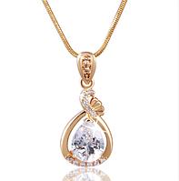 Позолоченная цепочка женская с белым кристаллом код 1070