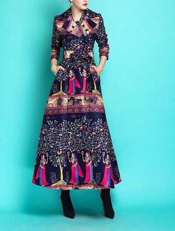 Женское брендовое пальто с ярким рисунком , фото 2