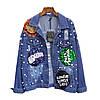 Джинсовая куртка украшена пайетками и бусинками