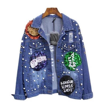 Джинсовая куртка украшена пайетками и бусинками, фото 2