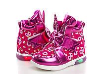 Детские демисезонные яркие ботиночки зайки с мигающей подошвой. Размер 22-27