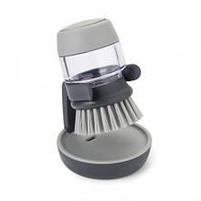Щетка с дозатором моющего средства palm scrub серая (85005)