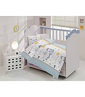 """Детский комплект постельного белья в кроватку ALTINBASAK """"Teddy"""" голубой"""