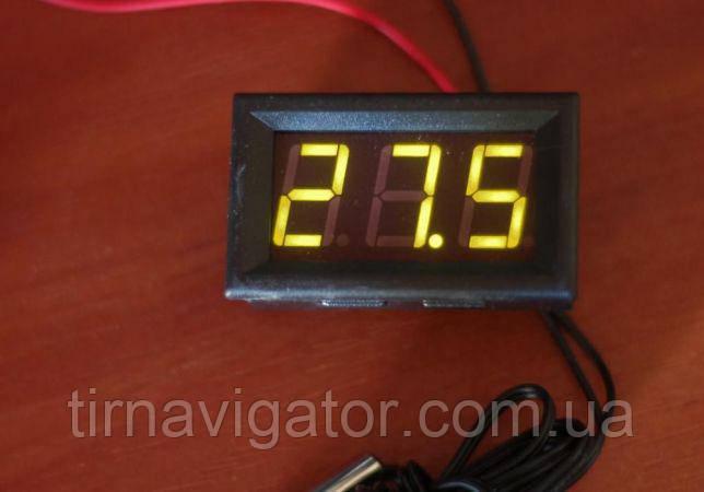 Термометр врезной автомобильный, от-50*С до +100*С (LED-индикатор, Красный/Синий/Зеленый)