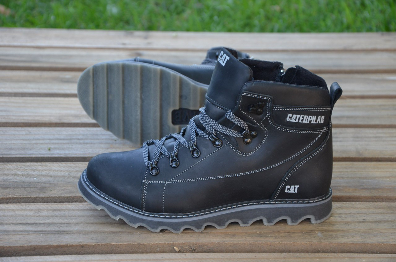 Мужские зимние кожаные ботинки CAT Caterpillar  черніе