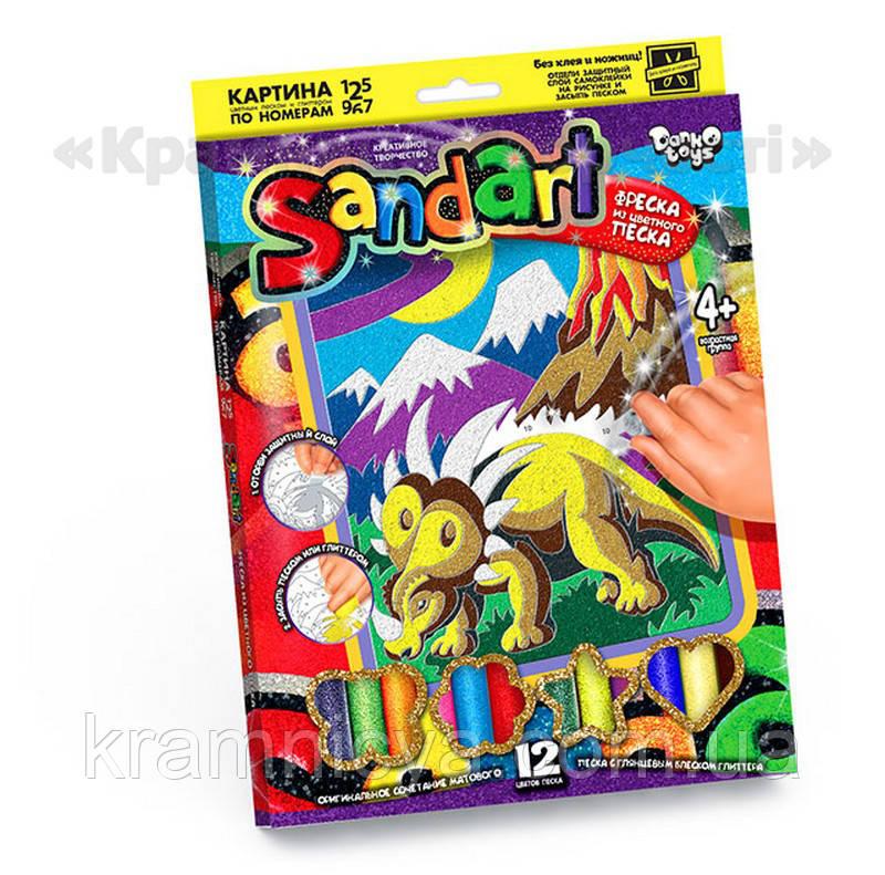 Картинка из песка 'Sand Art' Динозавр в горах (SA-01-07)