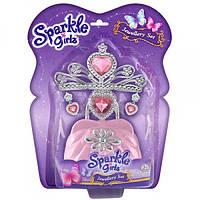 Набор аксессуаров для девочки (диадема, серьги, сумочка) розового цвета