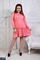 Женское платье из французского трикотажа с рюшами понизу и жемчугом на горловине розового цвета. Арт-19259