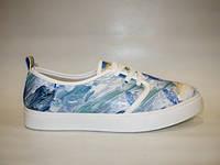 Слипоны на шнурках цветные голубые Т546