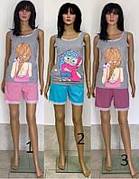 Пижама шорты и майка с кружевом большого размера 50-54 р, женские пижамы батал с шортами оптом