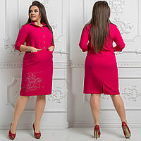 Платье больших размеров 48+с рубашечным воротником, карманами, с одной стороны накатка / 4 цвета  арт 3940-544