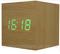 Часы  настольные с будильником светящиеся от батареек под дерево 1293