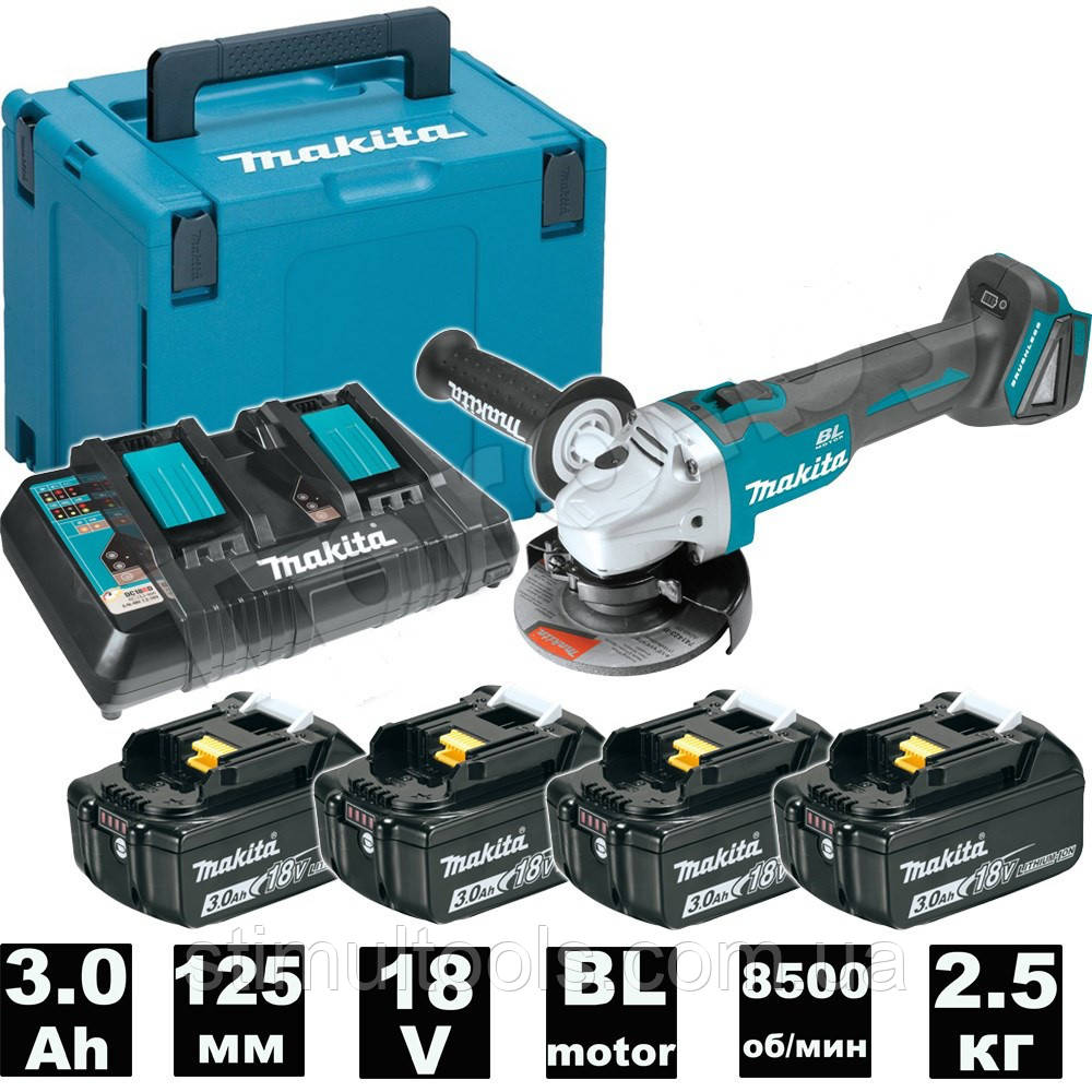 Набор УШМ Makita DGA504 + 4 аккумулятора BL1830, Makpac