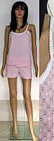 Пижама шорты и майка с тонкими бретелями резинкой 44-50 р, женские пижамы с шортами оптом
