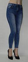 Джинсы светло синие варенки укороченные с разрезами внизу штанин