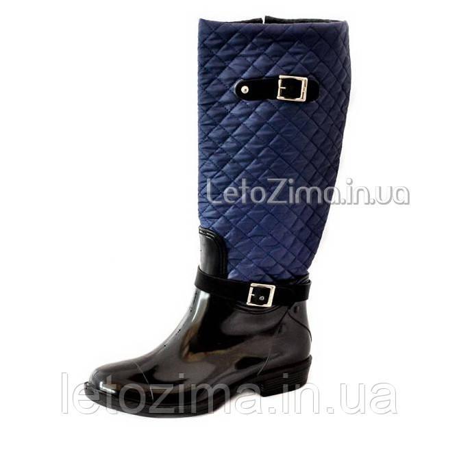 Резиновые сапоги утеплённые р.36-40 синий/черный