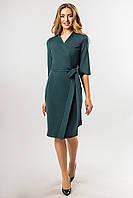 Темно-зеленое платье с поясом, фото 1