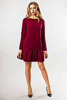 Бордовое платье с длинным рукавом и оборками, фото 1