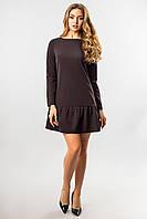 Черное платье с длинным рукавом и оборками, фото 1