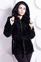 Шуба женская черная из искусственного меха каракуля М-126
