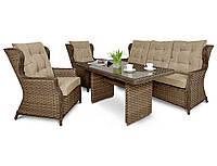 Комплект плетеной мебели BILBAO DINING 3 BRAUN диван+кресла+стол