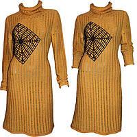 Дизайнерское вязаное женское платье - туника с ажурным принтом, машинной вязки