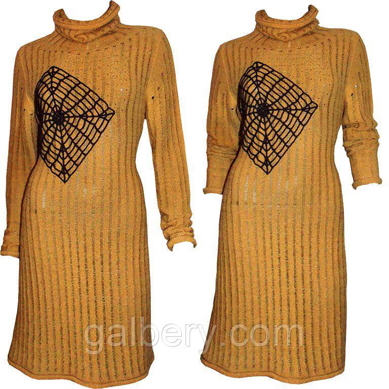 6315a3097f99 Дизайнерское вязаное женское платье - туника с ажурным принтом, машинной  вязки - Интернет-магазин