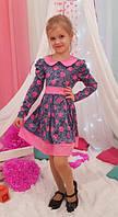 Детское платье в садик Радуга р. 104-122 джинс+малиновый