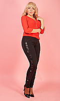 Женские леггтнсы на тонком утеплителе с кожаными вставками 42-50 размера