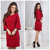 Платье женское рукава клеш (костюмка+потайная молния) SML 50 (цвет красный) СП