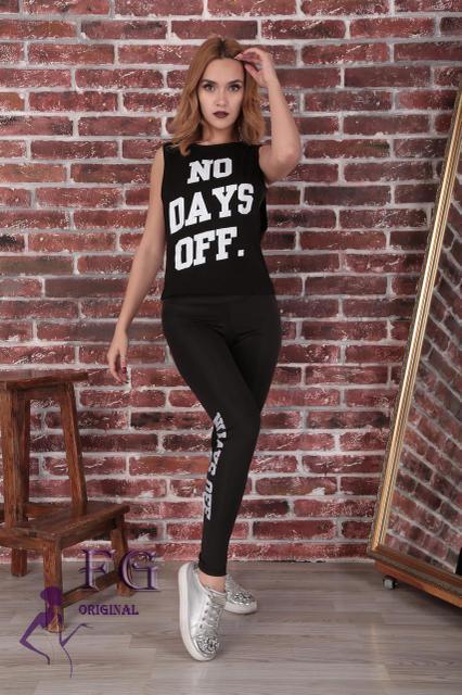 """Жіночий літній спортивний костюм """"Days off"""": лосини, топ і майка, чорний"""