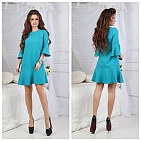Платье женское рукава клеш (костюмка+потайная молния) SML 30 (цвет бирюза) СП