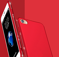 Красный силиконовый чехол с камнями Сваровски для iPhone 6 6S