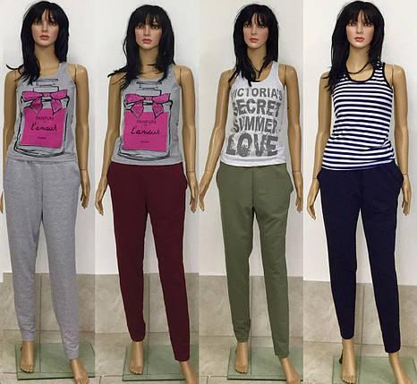 Брюки прямого кроя зауженные к низу двунитка с карманами 44-48 р, женские брюки оптом, фото 2