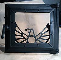 """Дверца чугунная стекло+отражатель """"Феникс""""(285""""315мм)"""