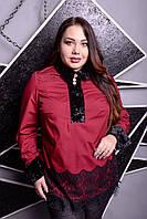 Блузка с ажурными вставками для крупных женщин, с 48-74 размер, фото 1