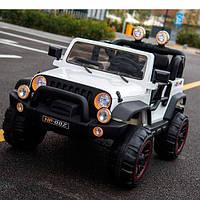 Детский двухместный электромобиль Джип Jeep M 3469 EBLR-1 белый, мягкие колеса и кожаное сиденье