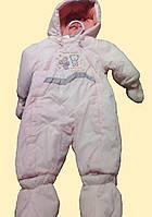 Комбинезон теплый для девочки, розовый с вышитыми мышками, 3м, 6м