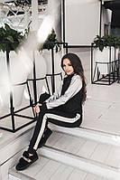 Женский модный спортивный костюм с отделкой эко-кожи серебро