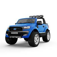 Двухместный детский полноприводный электромобиль джип Ford Ranger M 3573 EBLRS-4 синий, мягкие колеса кожаное сиденье